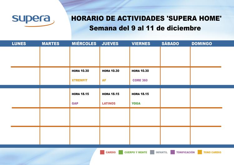 Programa de actividades de Supera Home para la semana del 9 al 11 de diciembre.
