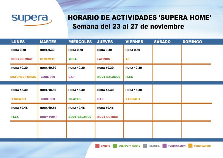 Programa de actividades de Supera Home para la semana del 23 al 27 de noviembre.