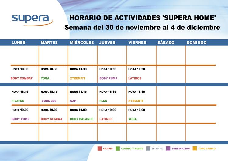 Programa de actividades de Supera Home para la semana del 30 de noviembre al 4 de diciembre.