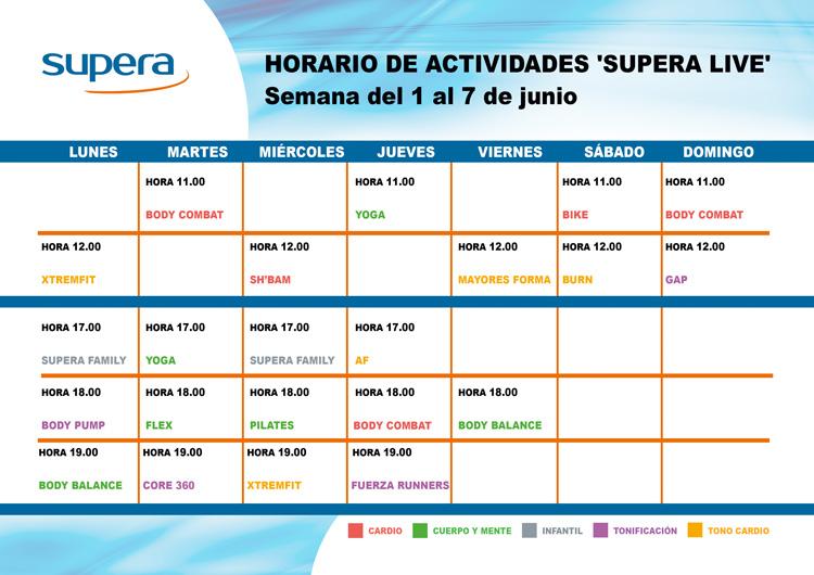 Programa de actividades de Supera Home para la semana del 1 al 7 de junio.